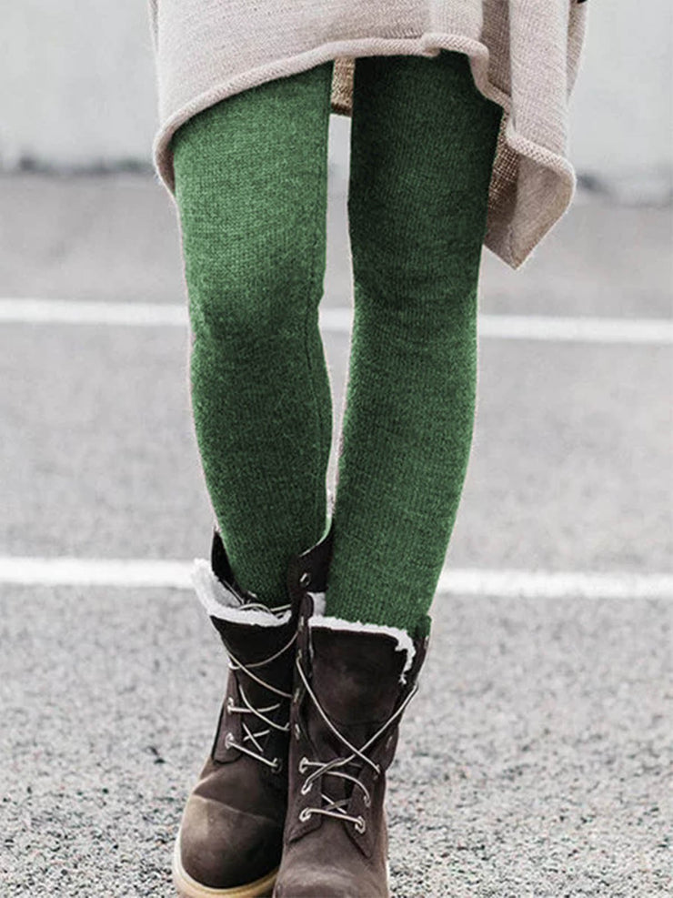 Women Warm Thick leggings Casual Cotton Pants Plus size for Fall Winter-Bottom-Wotoba-Green-S-Wotoba