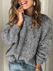 Cotton Long Sleeve Vintage Sweater-TOPS-Wotoba-Deep Gray-S-Wotoba