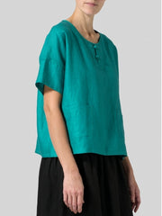 Casual Short Sleeve Round Neck Solid Plus Size Top-TOPS-Wotoba-Green-S-Wotoba