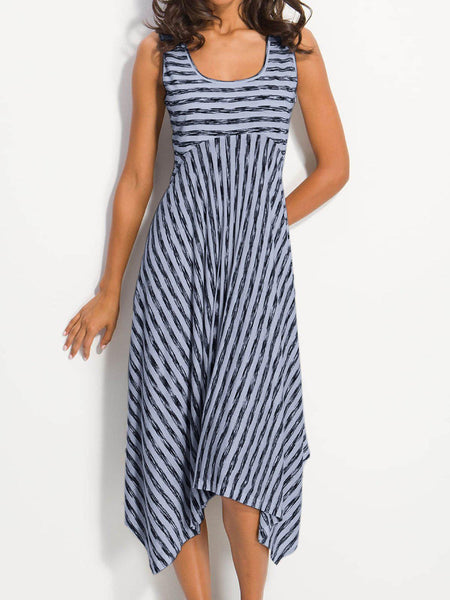 High-rise Stripes A-Line Cotton Crew Neck Dress-dress-Wotoba-Blue-S-Wotoba