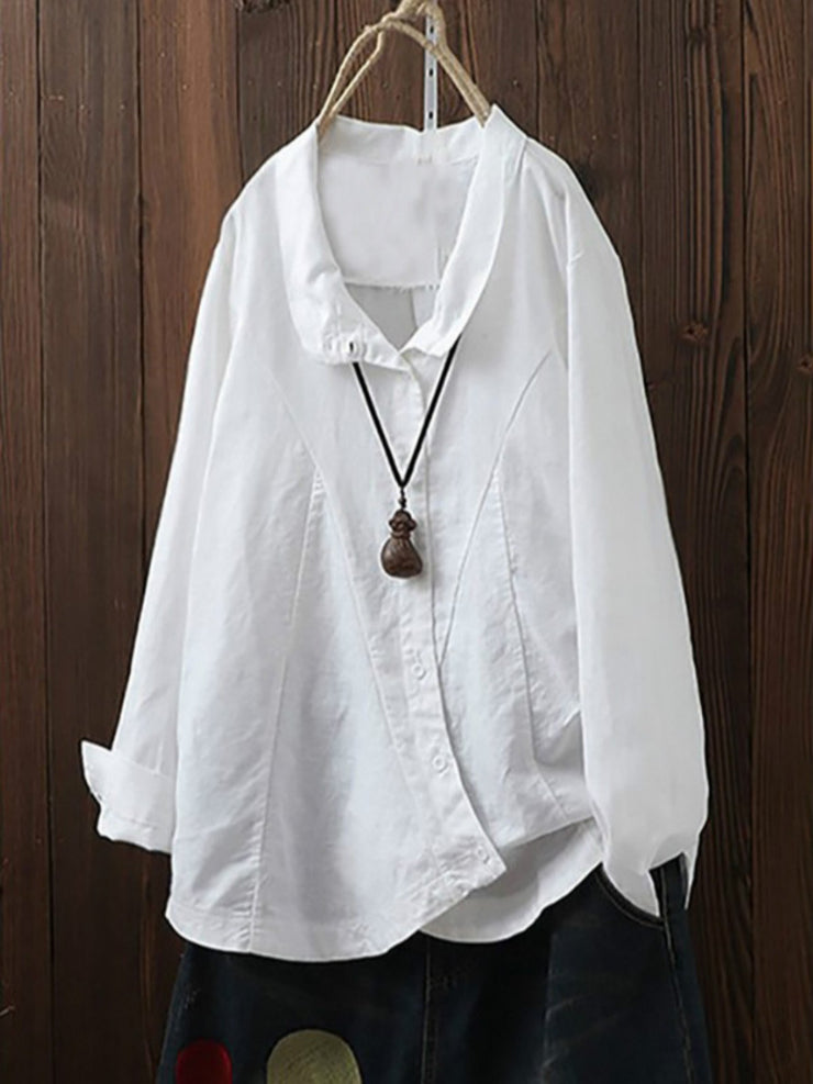Casual Linen V neck Long Sleeve Shirts & Tops