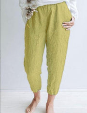 Summer Holiday Cotton Solid Casual Pants-Bottom-Wotoba-Yellow-S-Wotoba