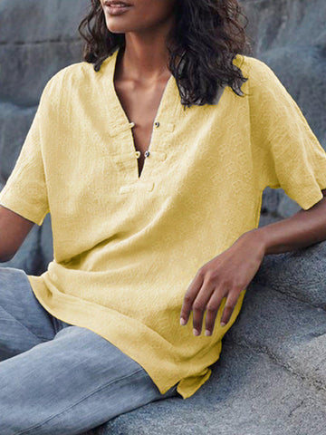 Short Sleeve Casual Solid V Neck Shirts & Tops-Top-Wotoba-Yellow-S-Wotoba