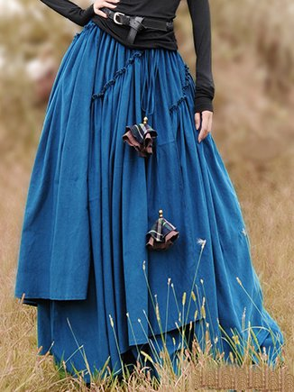 Casual Solid Skirts Cotton-blend Long Skirt for Women-dress-Wotoba-Blue-S-Wotoba