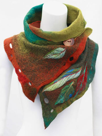 Boho Scarf Leaf Cotton Vintage Neckwarmers-Accessories-Wotoba-Green-One-size-Wotoba