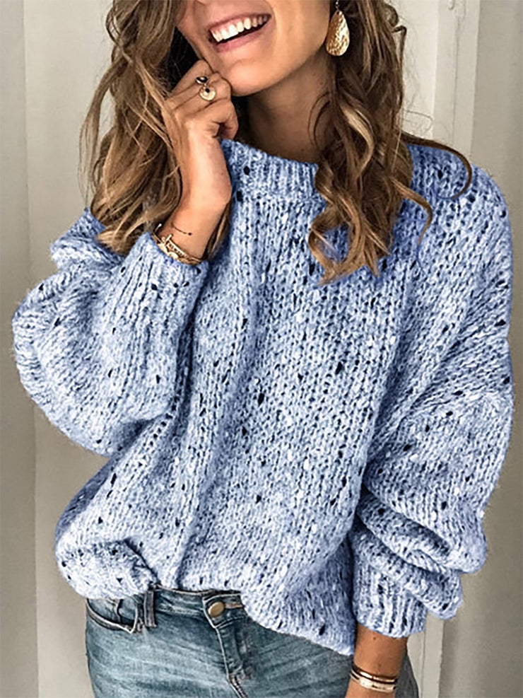 Cotton Long Sleeve Vintage Sweater-TOPS-Wotoba-Blue-S-Wotoba