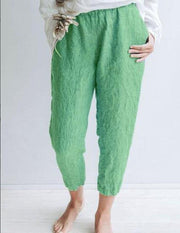 Summer Holiday Cotton Solid Casual Pants-Bottom-Wotoba-Green-S-Wotoba
