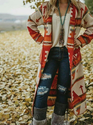 Women Blanket Coat Retro Native Aztec Long Sleeve