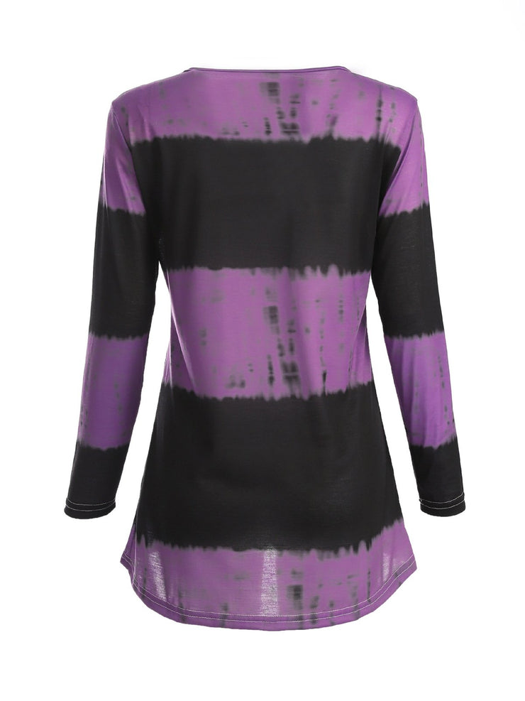 Ombre/tie-Dye Casual Long Sleeve Printed Dresses