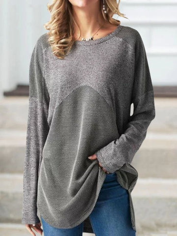 Women Casual Round Neck Round Long Sleeve Tops Plus Size