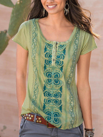 Women Short Sleeve Casual shirt Top-Top-Wotoba-Green-S-Wotoba