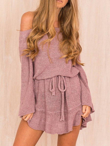 Casual Solid Off Shoulder Fall Dress-dress-Wotoba-Purple-S-Wotoba