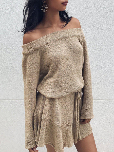 Casual Solid Off Shoulder Fall Dress-dress-Wotoba-Khaki-S-Wotoba
