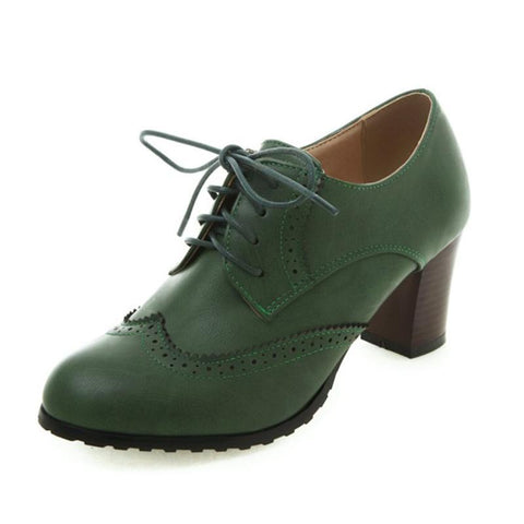 Vintage Chunky Heel Round Toe Lace-Up Boots-Shoe-Wotoba-Green-36-Wotoba