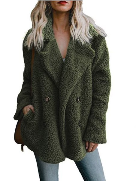 Women Teddy Bear Winter Fluffy Jacket Long Sleeve Buttoned Plus Size Coat-TOPS-Wotoba-Green-S-Wotoba