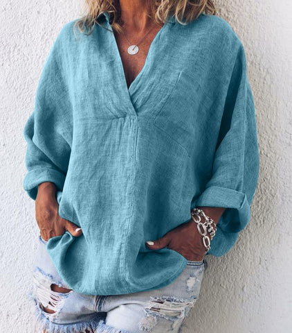 Plus Size Casual V Neck Long Sleeve Tops-Top-Wotoba-Green-S-Wotoba