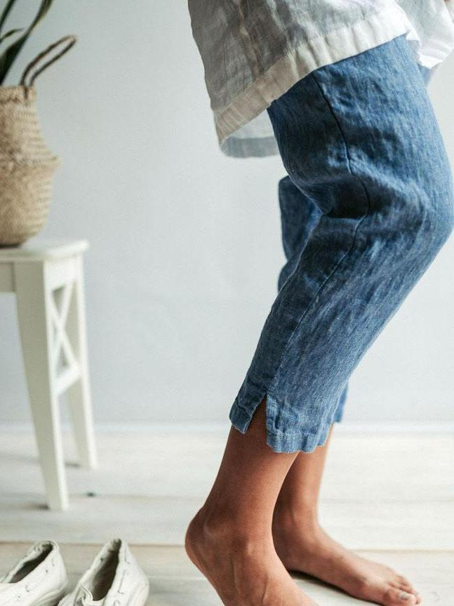 Summer Holiday Cotton Solid Casual Pants-Bottom-Wotoba-Blue-S-Wotoba
