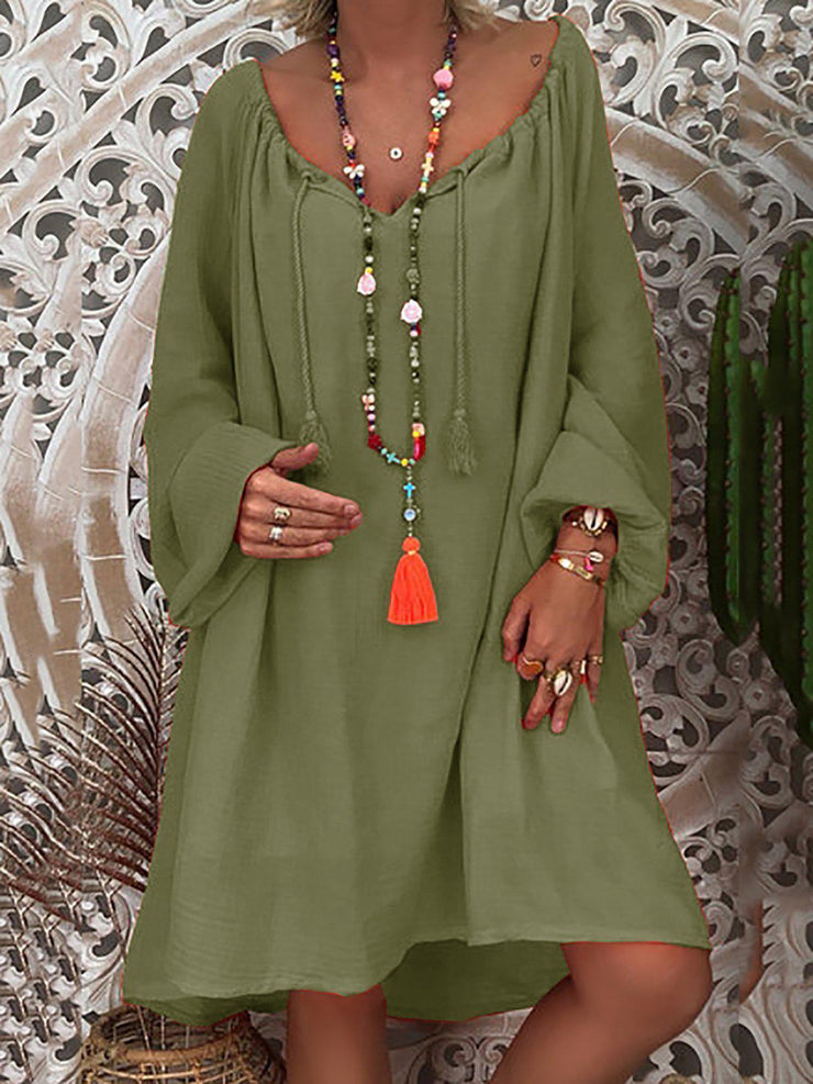 Daytime Long Sleeve Summer Solid Shift Loose Dress-dress-Wotoba-Army Green-S-Wotoba