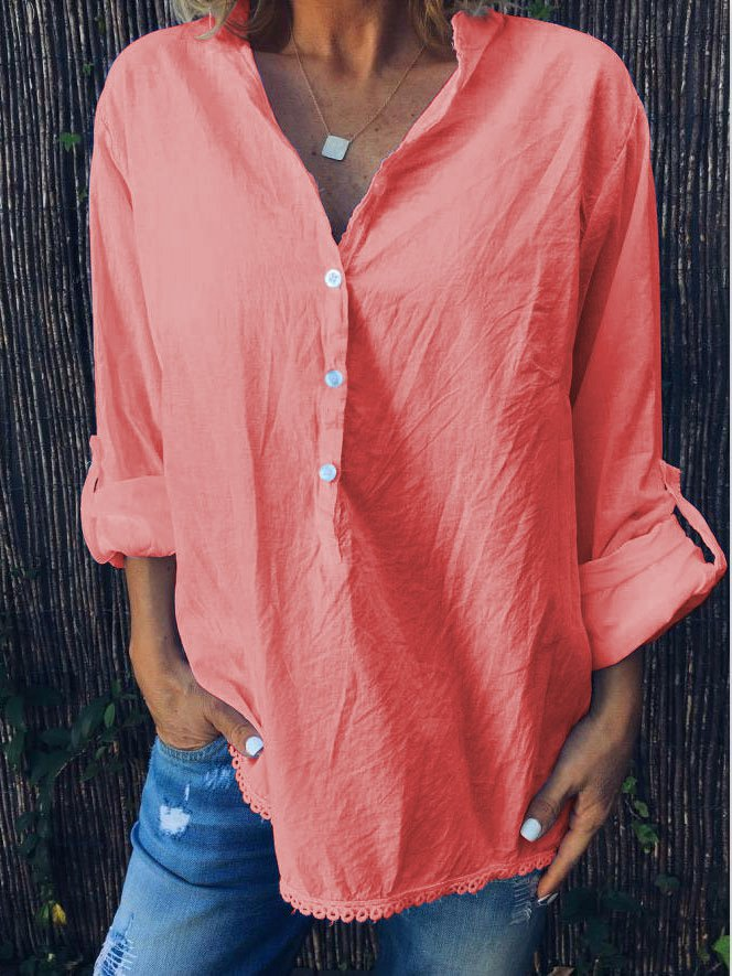 Summer Loose Casual Solid V-Neck Long Sleeve Shirt-TOPS-Wotoba-Red-S-Wotoba