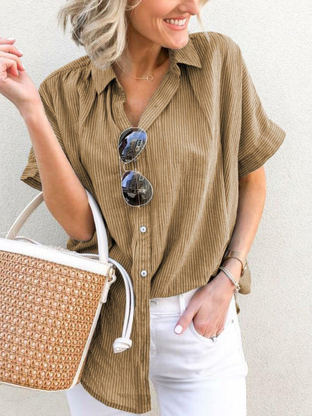 Plus Size Casual V-Neck Short Sleeve Striped Blouse-Top-Wotoba-Khaki-S-Wotoba
