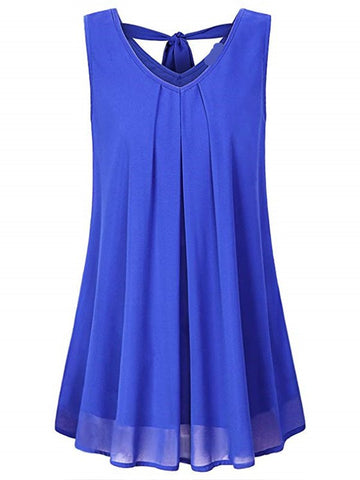 Women Summer V Neck Chiffon Sleeveless Solid Casual Tops-Top-Wotoba-Royal Blue-S-Wotoba
