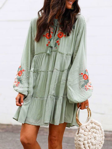 Floral Tassel Charm Elegant Casual Mini Dresses-dress-Wotoba-Green-S-Wotoba