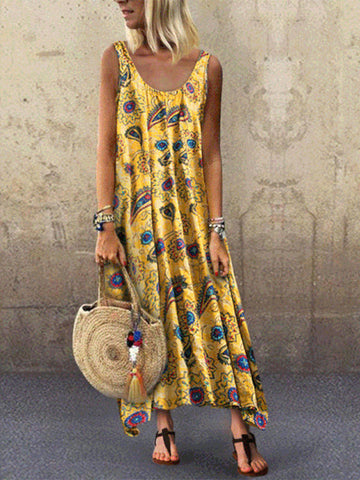 Sleeveless Casual Dresses-dress-Wotoba-Yellow-S-Wotoba