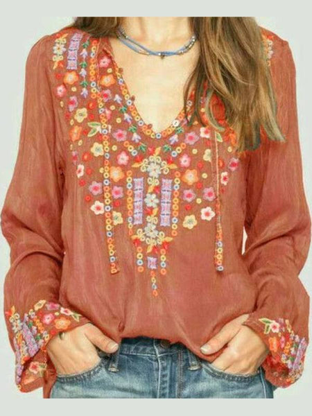 Women Boho Blouses Long Sleeve Floral Cotton Plus Size-Top-size-bust-5xl-130-Red Brown-S-Wotoba
