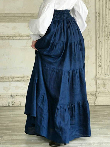 Women Vintage Skirts Western Pleated Solid Plus Size