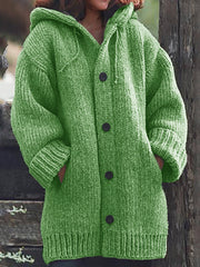 Women Knitted Cardigan Casual Button Plus Size Sweatear with Hoodie Burlington Coats-TOPS-Wotoba-Green-S-Wotoba