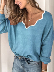 Women Casual Long Sleeve Cotton-blend Sweater for Winter-TOPS-Wotoba-Blue-S-Wotoba