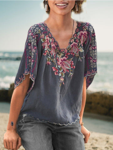 Casual Floral-Embroidered V Neck Shirts & Tops-Top-Wotoba-Gray-S-Wotoba