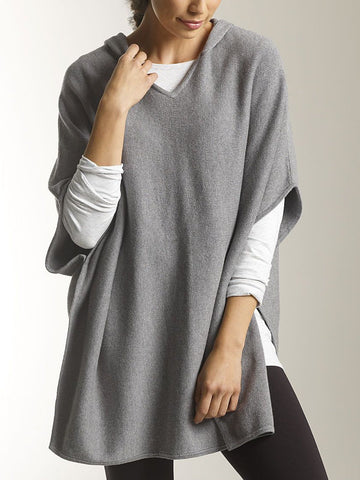 Women Casual Tops Plain Wool Blend Tops with Hoodie-Top-Wotoba-Gray-S-Wotoba