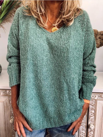 Plus Size Casual Neck Long Sleeve Knitted Sweater-Top-Wotoba-Green-S-Wotoba