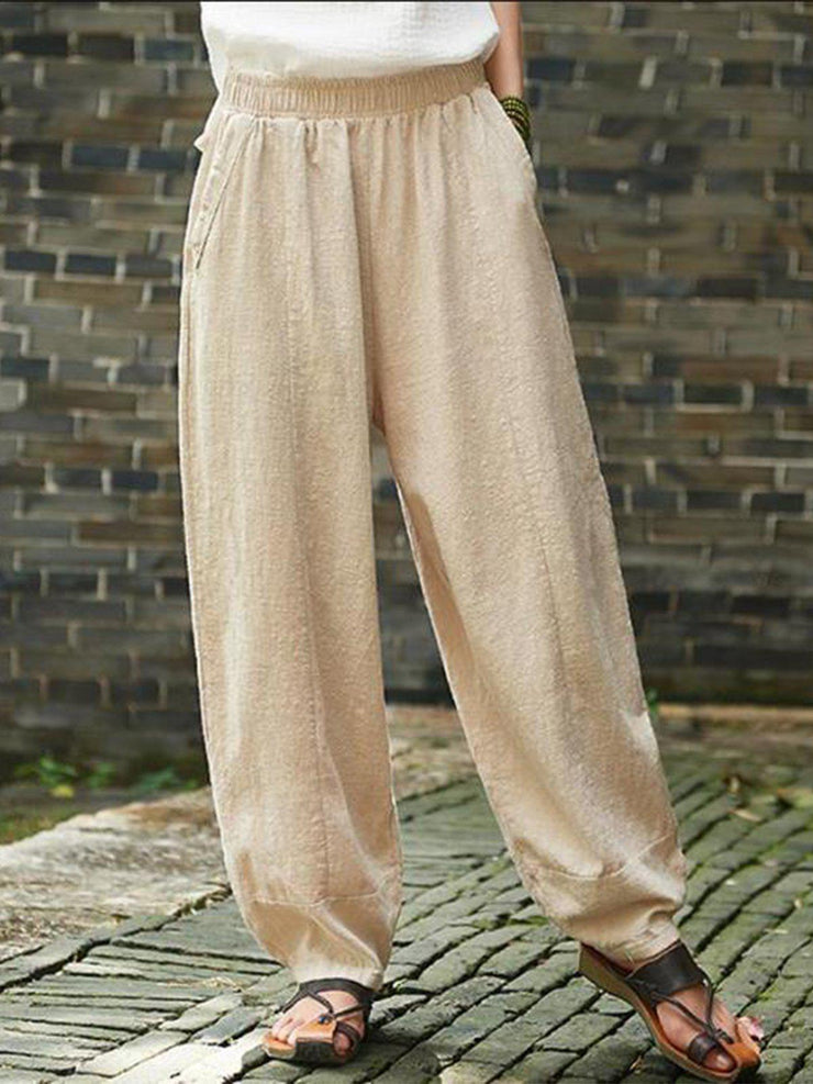 Pockets Solid Casual Plus Size Linen Turnip Pants-Bottom-Wotoba-Beige-S-Wotoba