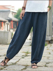 Pockets Solid Casual Plus Size Linen Turnip Pants-Bottom-Wotoba-Navy Blue-S-Wotoba