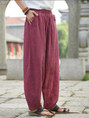 Pockets Solid Casual Plus Size Linen Turnip Pants-Bottom-Wotoba-Red-S-Wotoba