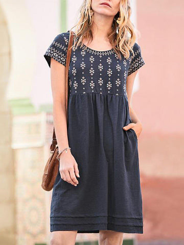 Casual Short Sleeve Crew Neck Pockets Dresses-dress-Wotoba-Navy Blue-S-Wotoba