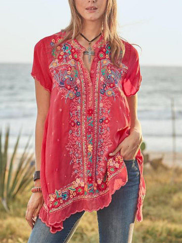 Women Blouse Casual Boho Short Sleeve V Neck Floral Plus Size-Top-Wotoba-Red-S-Wotoba