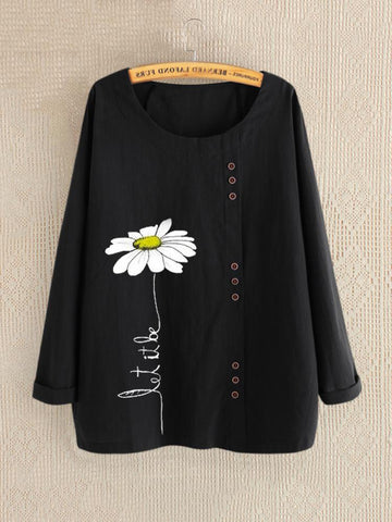 Casual Floral Print Daisy Button Long Sleeve Shirt-Top-Wotoba-Black-M-Wotoba