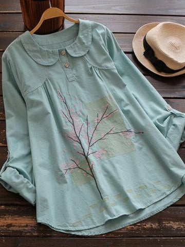 Plant Peter Pan Collar Casual Cotton-Blend Shirts & Tops-Top-Wotoba-Green-M-Wotoba