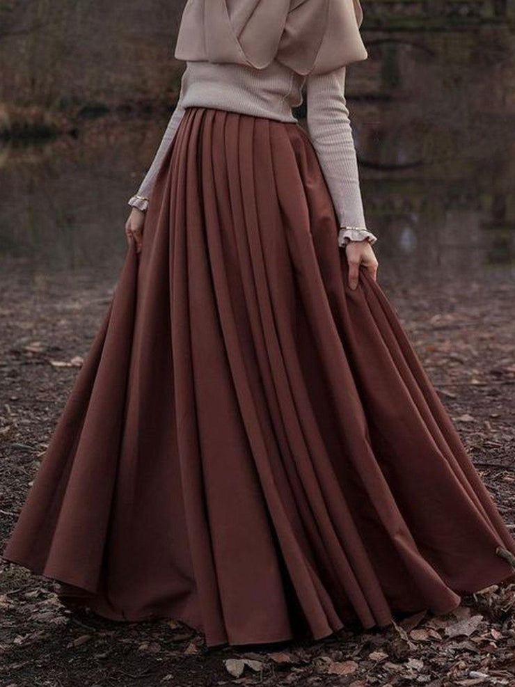 Pleated Skirt Cotton-Blend Solid Casual Long Skirts-dress-Wotoba-Coffee-S-Wotoba