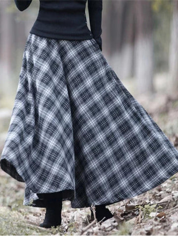Plaid Skirt Vintage Casual Cotton-Blend Long Skirts-dress-Wotoba-Blue-S-Wotoba