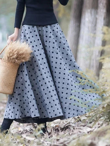 Polka Dots Vintage Cotton-blend Long Skirts for Fall Winter-dress-Wotoba-Blue-S-Wotoba