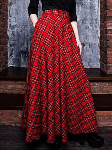 Vintage Checkered/plaid Skirts-dress-Wotoba-Red-S-Wotoba