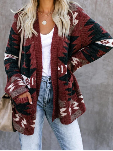 Women Coat Geometric Long Sleeve Knited Boho Plus Size-Top-Wotoba-Wine Red-S-Wotoba