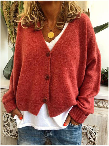 Women Casual V neck Long Sleeve Knitted Plus Size Sweater-Top-Wotoba-Red-S-Wotoba