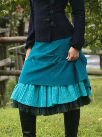 Casual Vintage Skirts Daily Cotton-Blend Skirts Plus Size for Fall Winter-dress-Wotoba-Blue-S-Wotoba