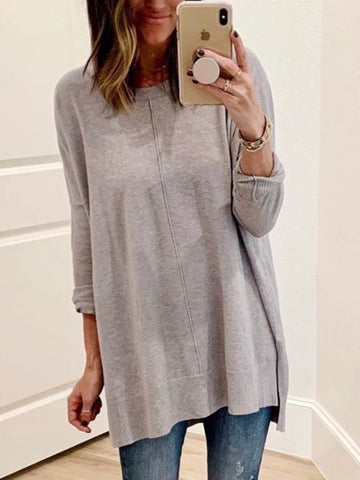 Women Plus Size Casual Long Sleeve Crew Neck Solid Tops-Top-Wotoba-Gray-S-Wotoba