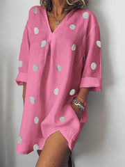 Daily Casual Cotton Polka Dots V-Neck Loose Dress-dress-Wotoba-Fuchsia-S-Wotoba